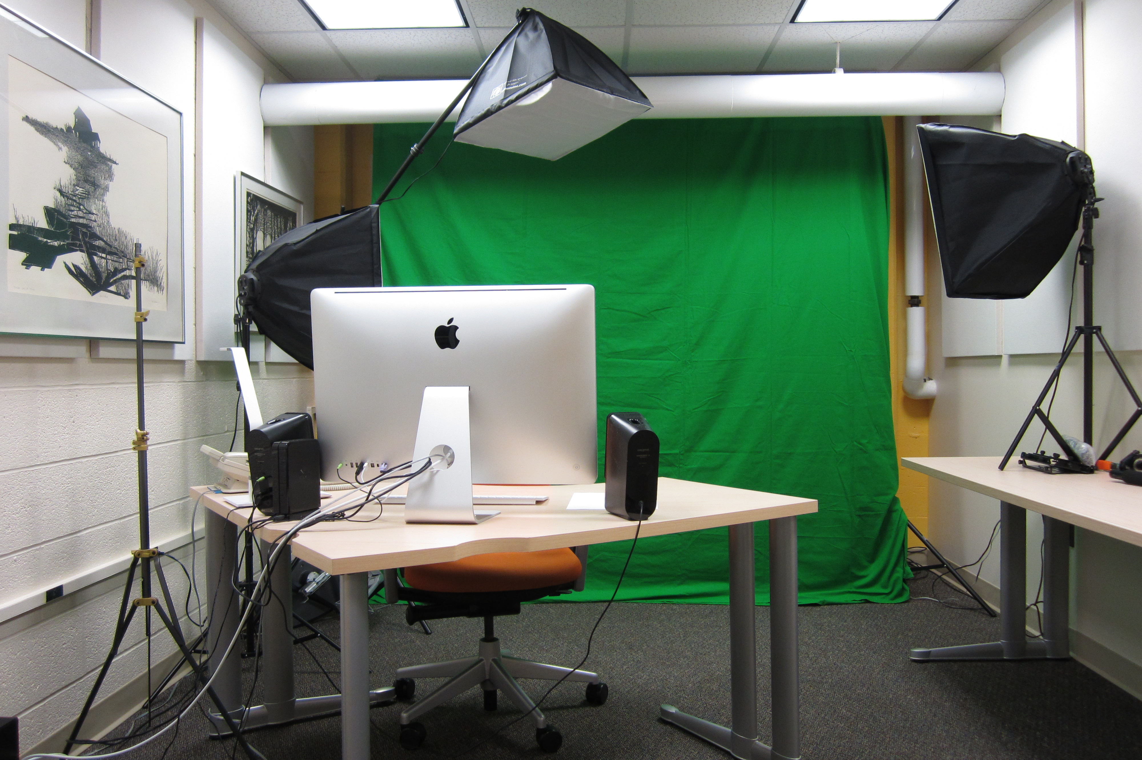 video production room with greenscreen