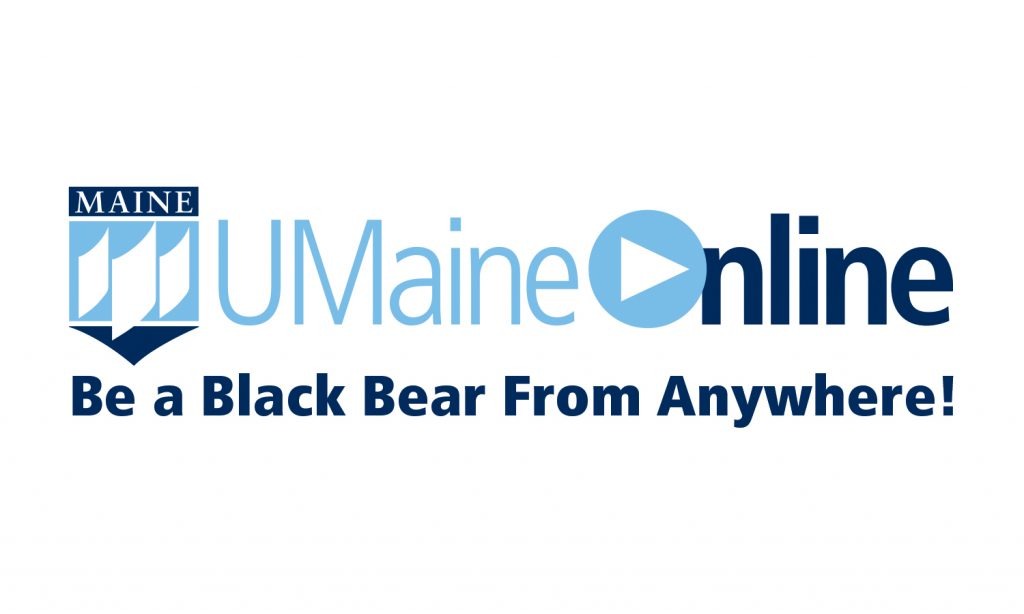 "UMaineOnline logo with tagline ""Be a Black Bear from Anywhere"""