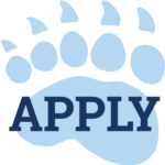 Blue bear paw print with Apply in the palm